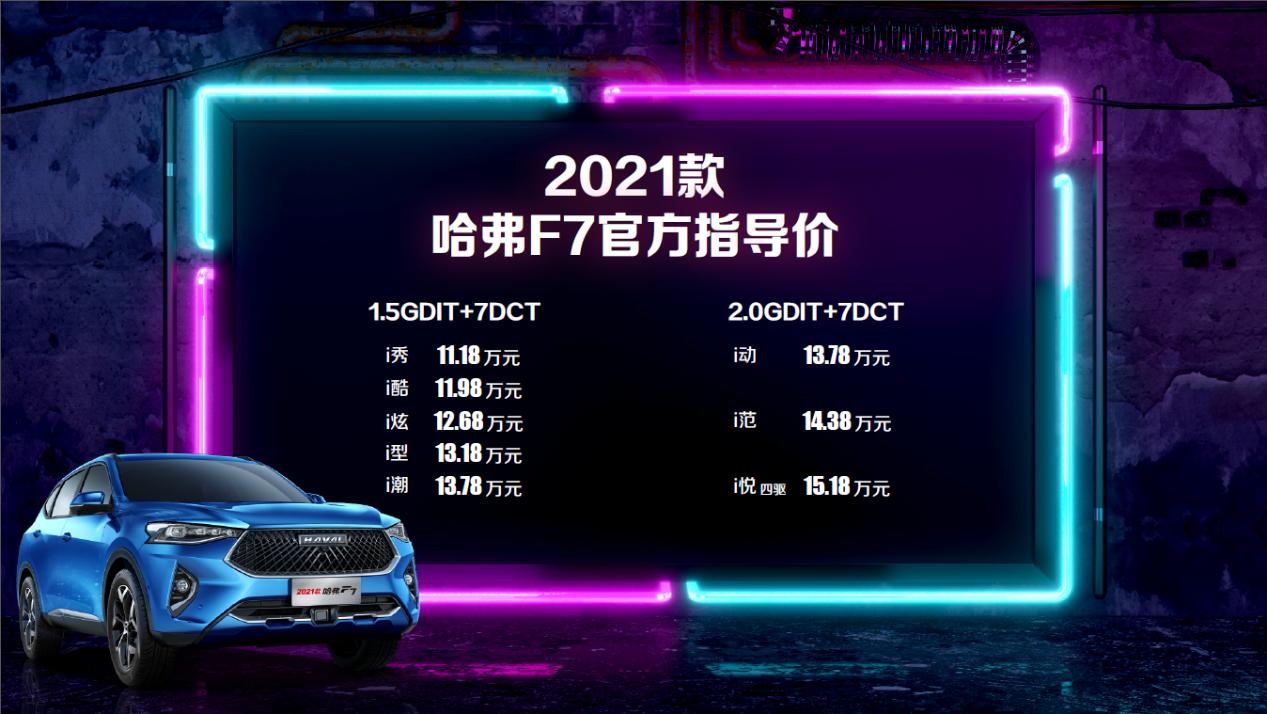 全系标配Fun-Life 2.0系统 11.18万起售 2021款哈弗F7/F7x双星上市