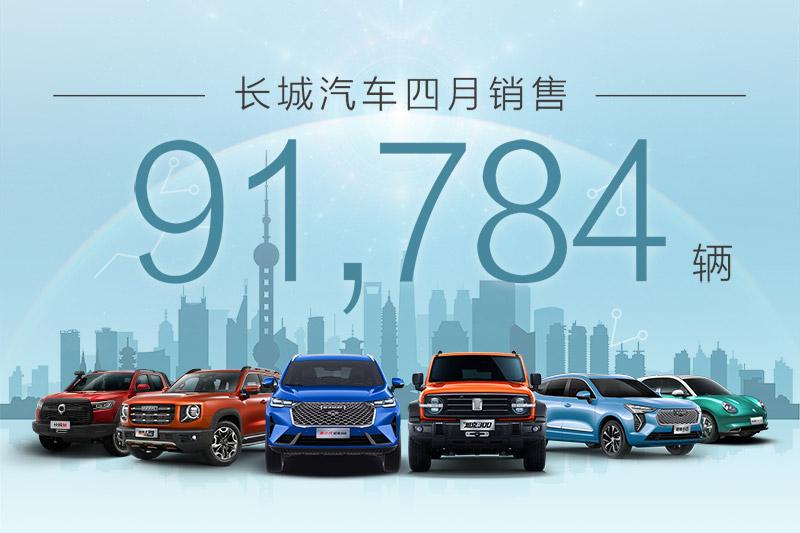 2021年4月销量快报:长城汽车月销9.2万辆 同比猛增14%