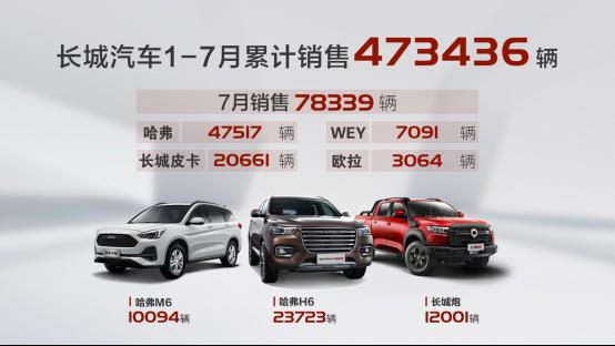 长城欧拉白猫-同比大涨30%!长城汽车7月销售78,339辆,新生力量赢战2020年下半场